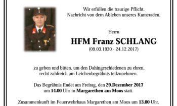 Im Gedenken HFM Franz Schlang